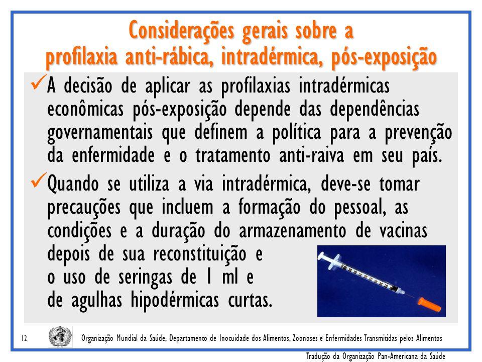Considerações gerais sobre a profilaxia anti-rábica, intradérmica, pós-exposição