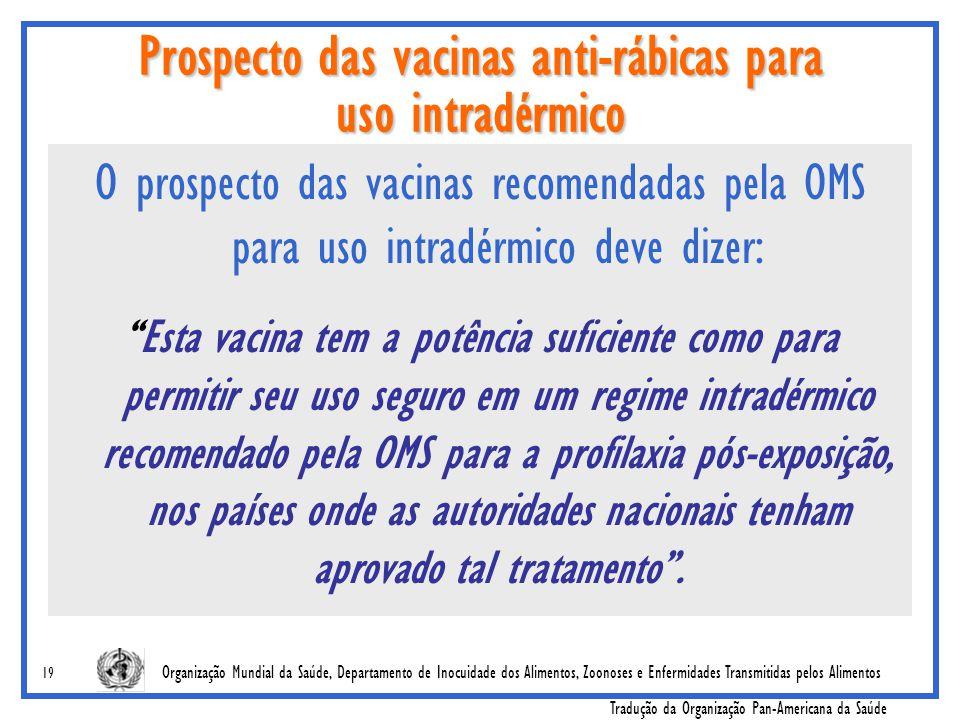Prospecto das vacinas anti-rábicas para uso intradérmico