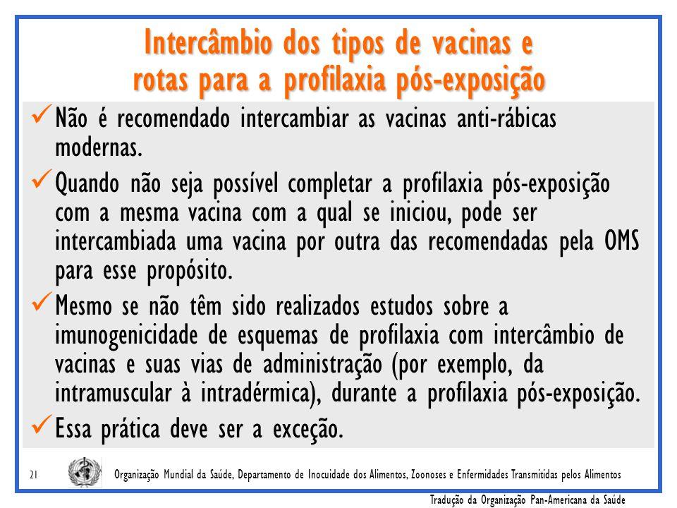 Intercâmbio dos tipos de vacinas e rotas para a profilaxia pós-exposição