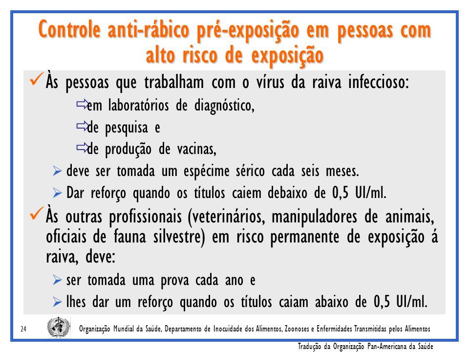 Controle anti-rábico pré-exposição em pessoas com alto risco de exposição