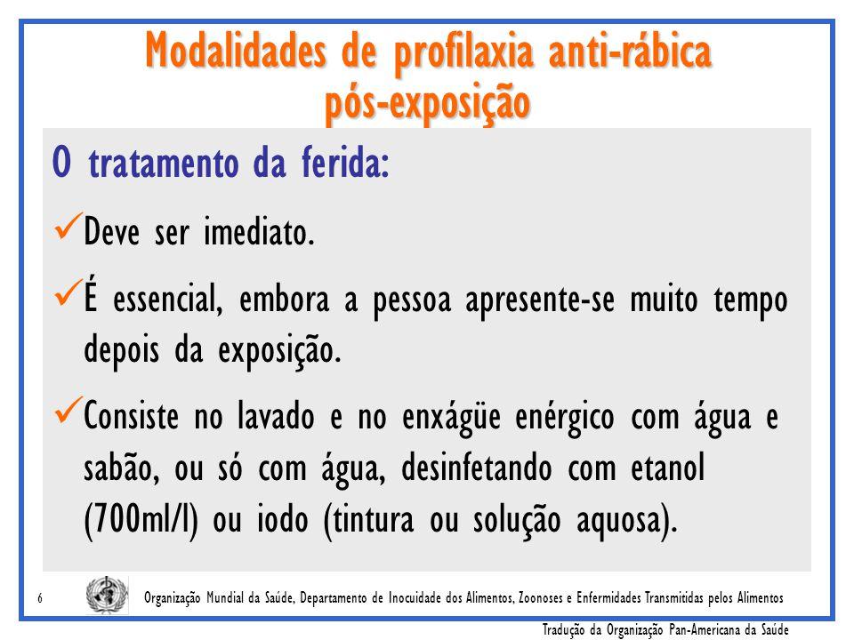 Modalidades de profilaxia anti-rábica pós-exposição