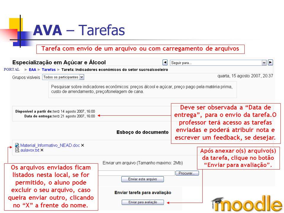 AVA – Tarefas Tarefa com envio de um arquivo ou com carregamento de arquivos. PORTAL. Deve ser observada a Data de.