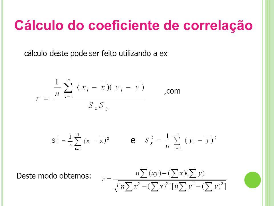 Cálculo do coeficiente de correlação