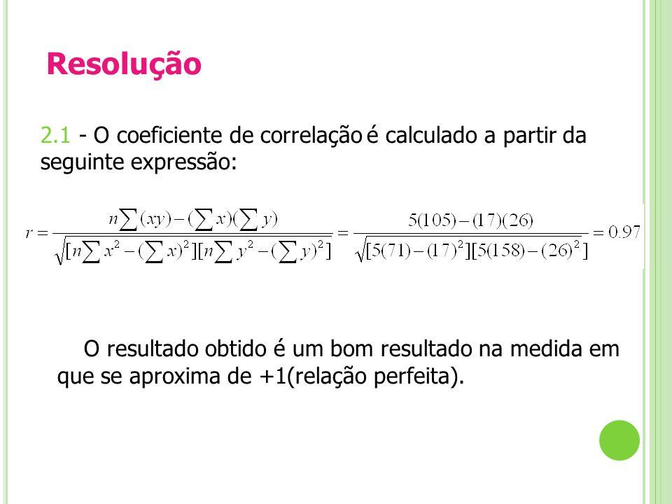Resolução 2.1 - O coeficiente de correlação é calculado a partir da seguinte expressão: