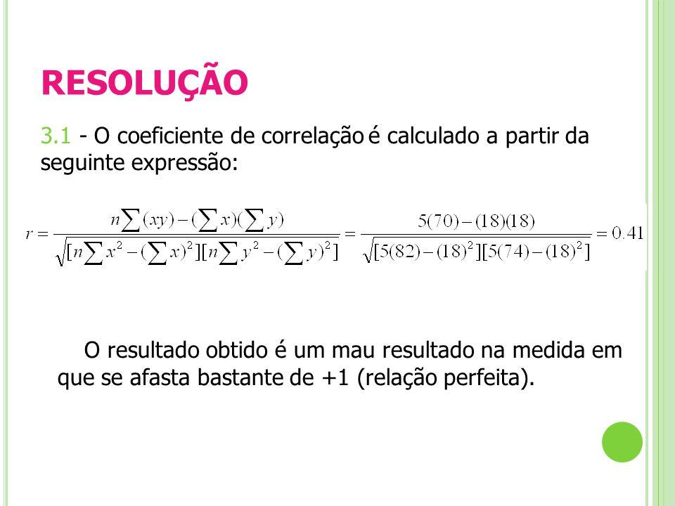 RESOLUÇÃO 3.1 - O coeficiente de correlação é calculado a partir da seguinte expressão: