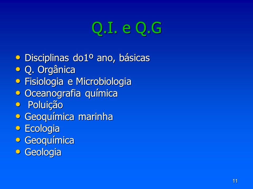 Q.I. e Q.G Disciplinas do1º ano, básicas Q. Orgânica