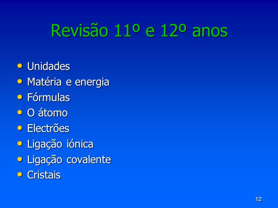 Revisão 11º e 12º anos Unidades Matéria e energia Fórmulas O átomo