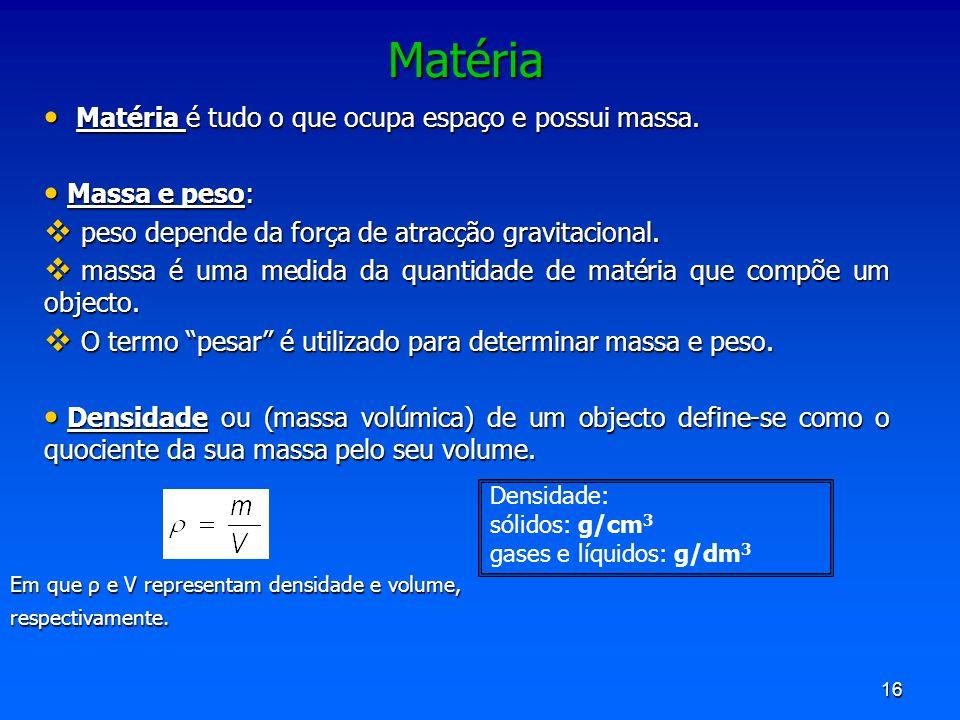 Matéria Matéria é tudo o que ocupa espaço e possui massa.