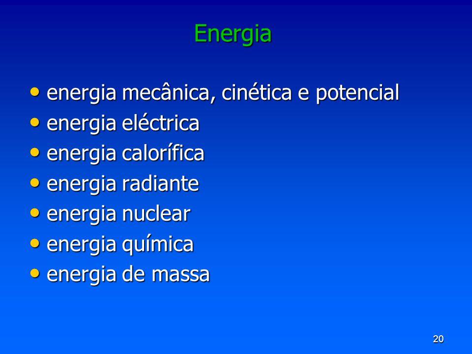 Energia energia mecânica, cinética e potencial energia eléctrica