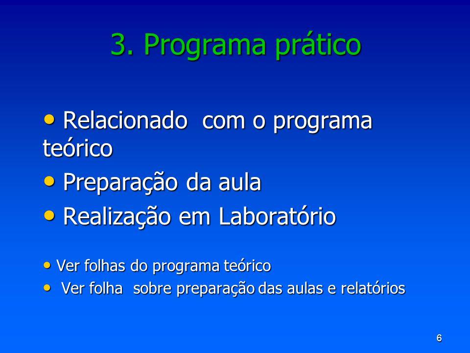 3. Programa prático Relacionado com o programa teórico