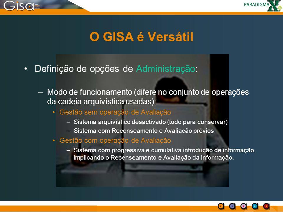 O GISA é Versátil Definição de opções de Administração:
