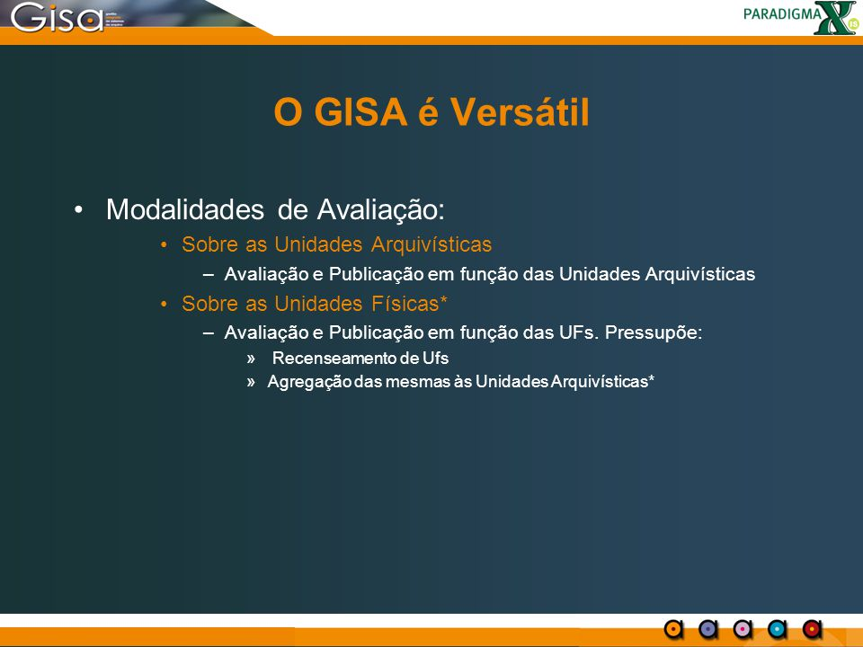 O GISA é Versátil Modalidades de Avaliação: