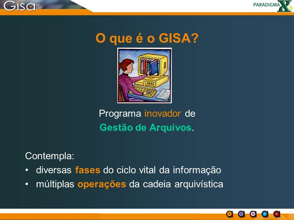 O que é o GISA Programa inovador de Gestão de Arquivos. Contempla: