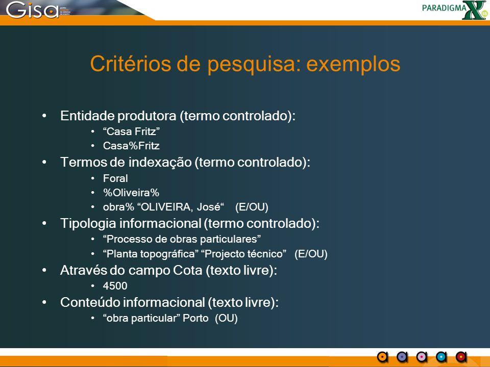 Critérios de pesquisa: exemplos