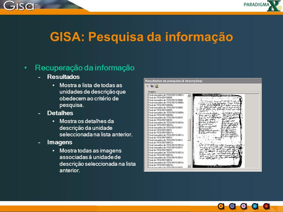 GISA: Pesquisa da informação
