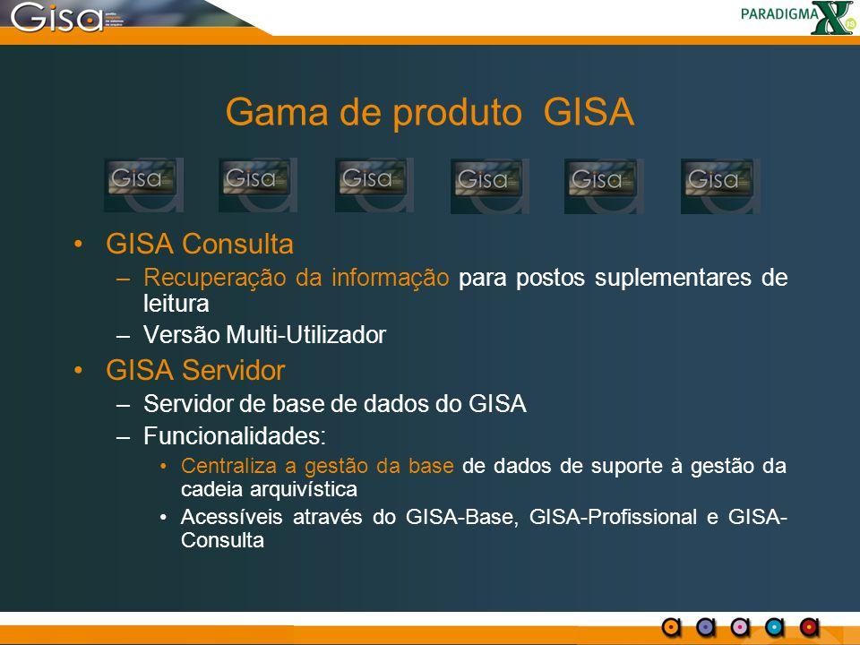 Gama de produto GISA GISA Consulta GISA Servidor