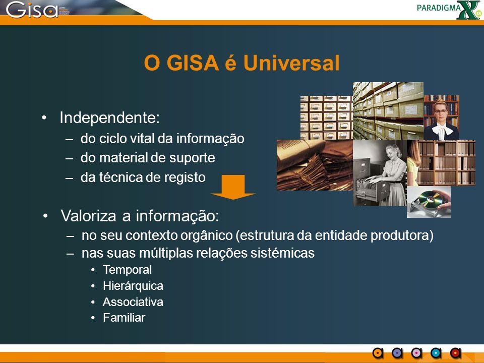 O GISA é Universal Independente: Valoriza a informação: