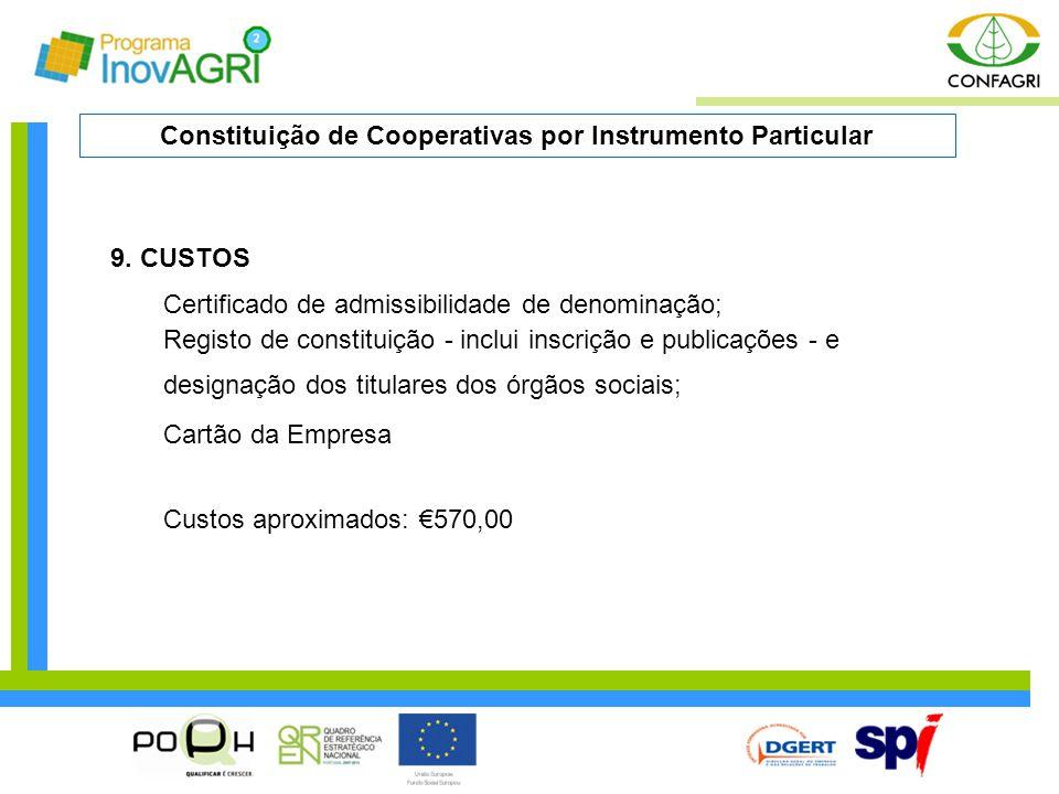 Constituição de Cooperativas por Instrumento Particular
