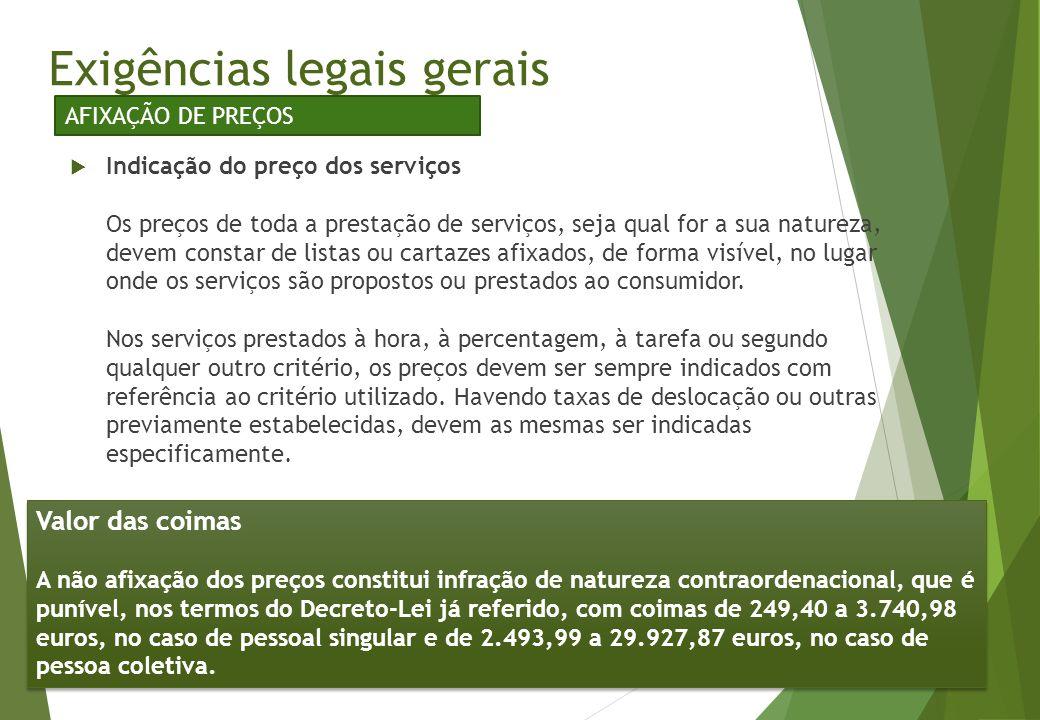 Exigências legais gerais