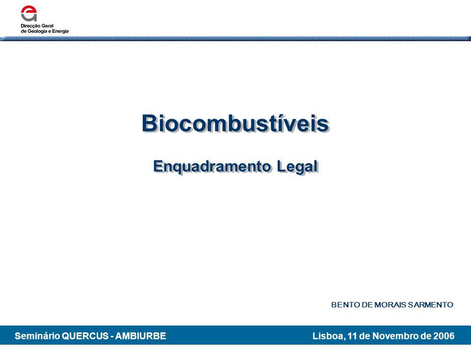 Biocombustíveis Enquadramento Legal BENTO DE MORAIS SARMENTO