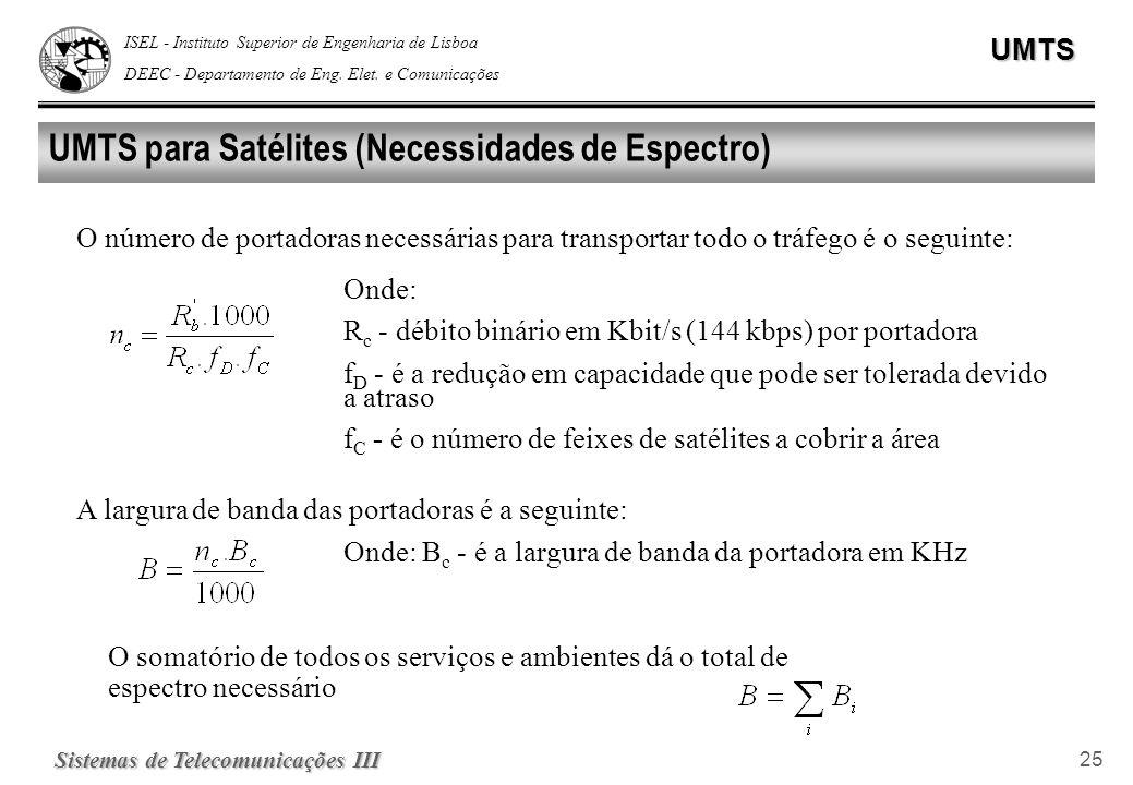 UMTS para Satélites (Necessidades de Espectro)