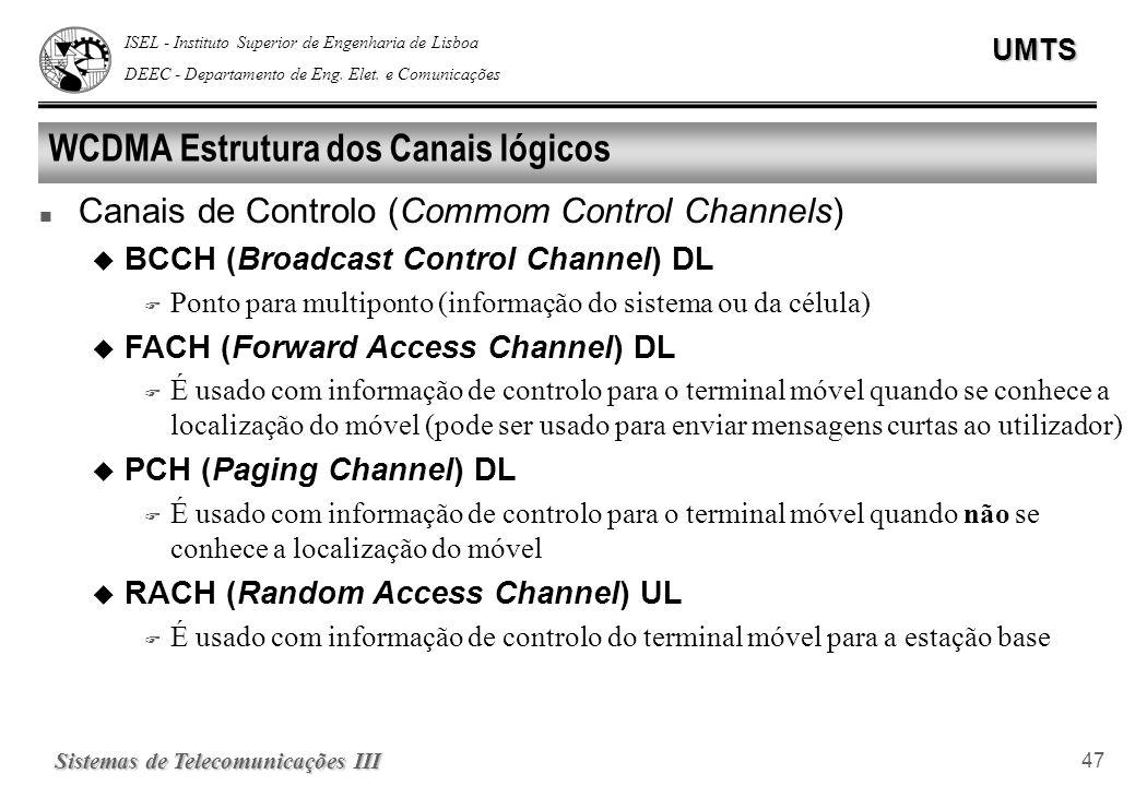WCDMA Estrutura dos Canais lógicos
