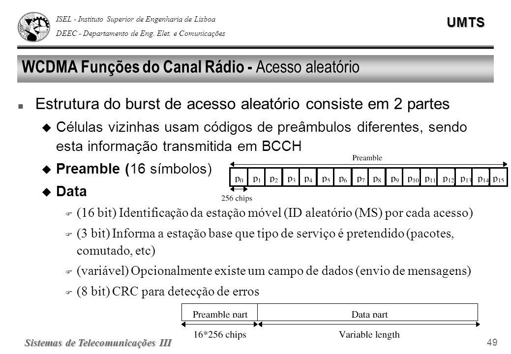 WCDMA Funções do Canal Rádio - Acesso aleatório