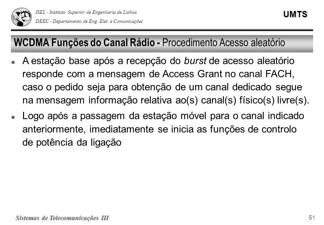 WCDMA Funções do Canal Rádio - Procedimento Acesso aleatório