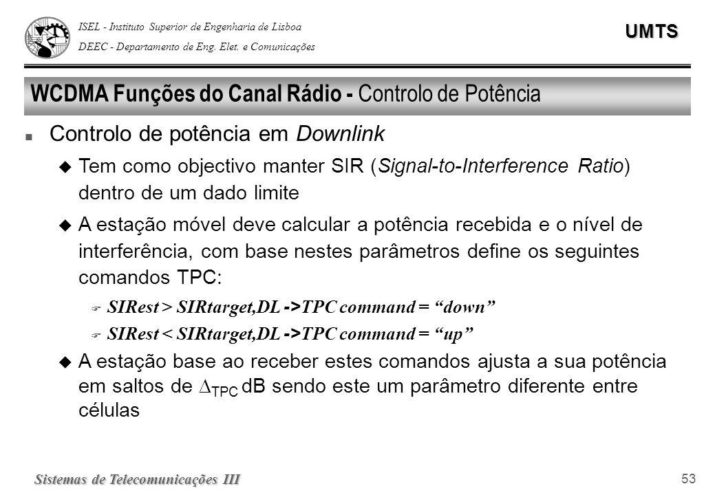 WCDMA Funções do Canal Rádio - Controlo de Potência
