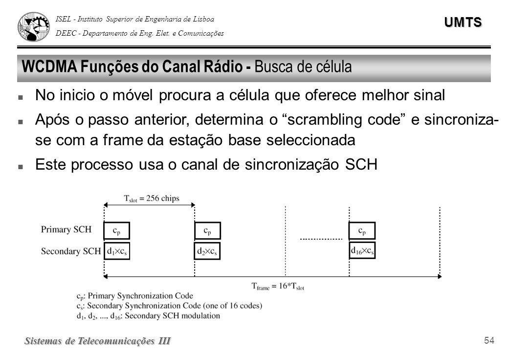 WCDMA Funções do Canal Rádio - Busca de célula