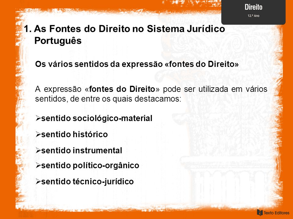 1. As Fontes do Direito no Sistema Jurídico Português