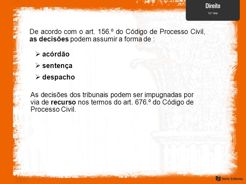 De acordo com o art. 156.º do Código de Processo Civil, as decisões podem assumir a forma de :