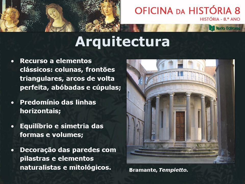 Arquitectura Recurso a elementos clássicos: colunas, frontões triangulares, arcos de volta perfeita, abóbadas e cúpulas;