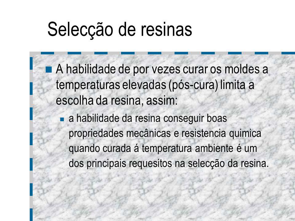 Selecção de resinas A habilidade de por vezes curar os moldes a temperaturas elevadas (pós-cura) limita a escolha da resina, assim: