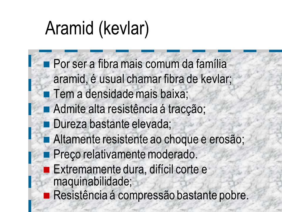 Aramid (kevlar) Por ser a fibra mais comum da família aramid, é usual chamar fibra de kevlar; Tem a densidade mais baixa;