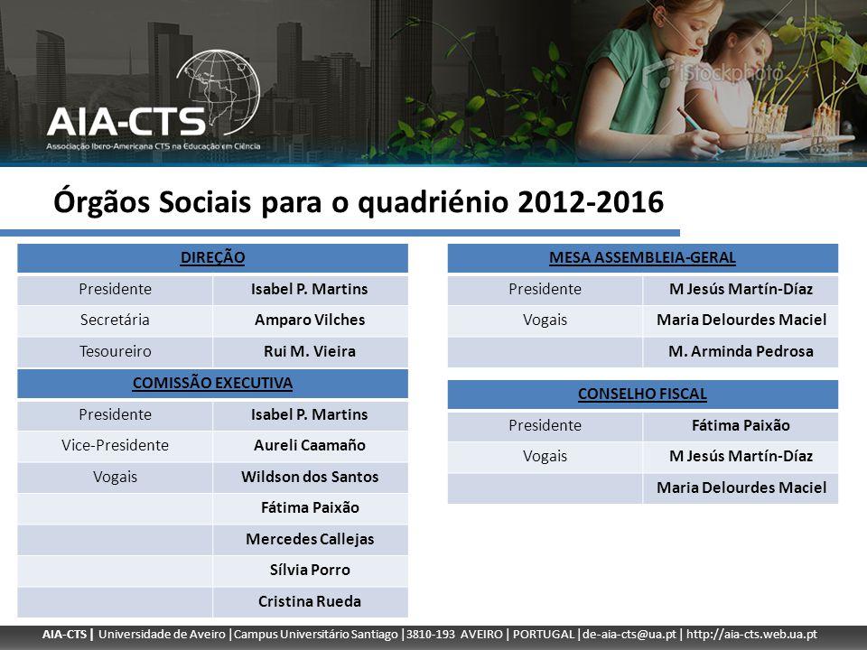Órgãos Sociais para o quadriénio 2012-2016