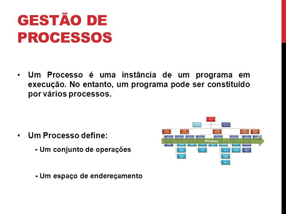 Gestão de Processos Um Processo é uma instância de um programa em execução. No entanto, um programa pode ser constituído por vários processos.
