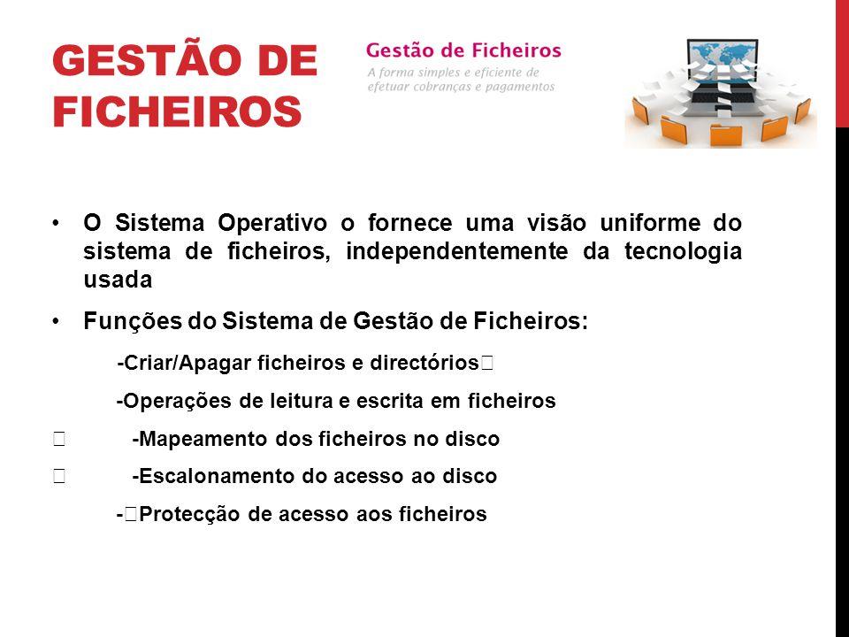 Gestão de Ficheiros O Sistema Operativo o fornece uma visão uniforme do sistema de ficheiros, independentemente da tecnologia usada.