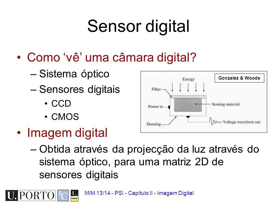 Sensor digital Como 'vê' uma câmara digital Imagem digital