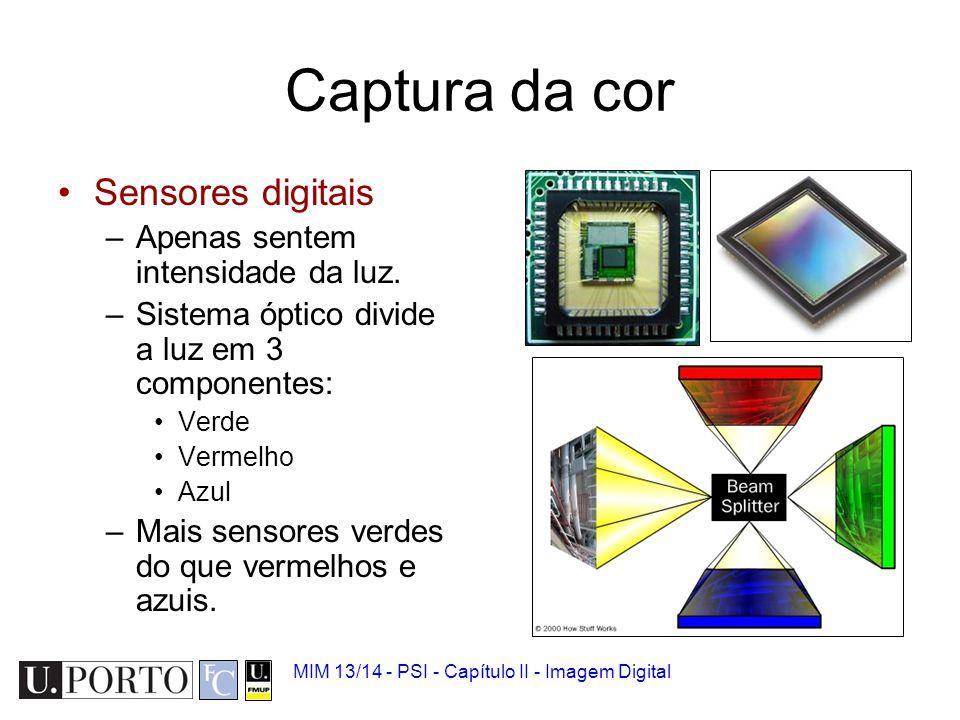 Captura da cor Sensores digitais Apenas sentem intensidade da luz.