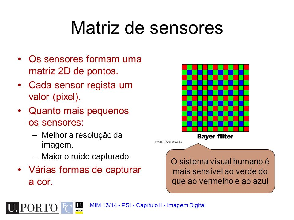 Matriz de sensores Os sensores formam uma matriz 2D de pontos.