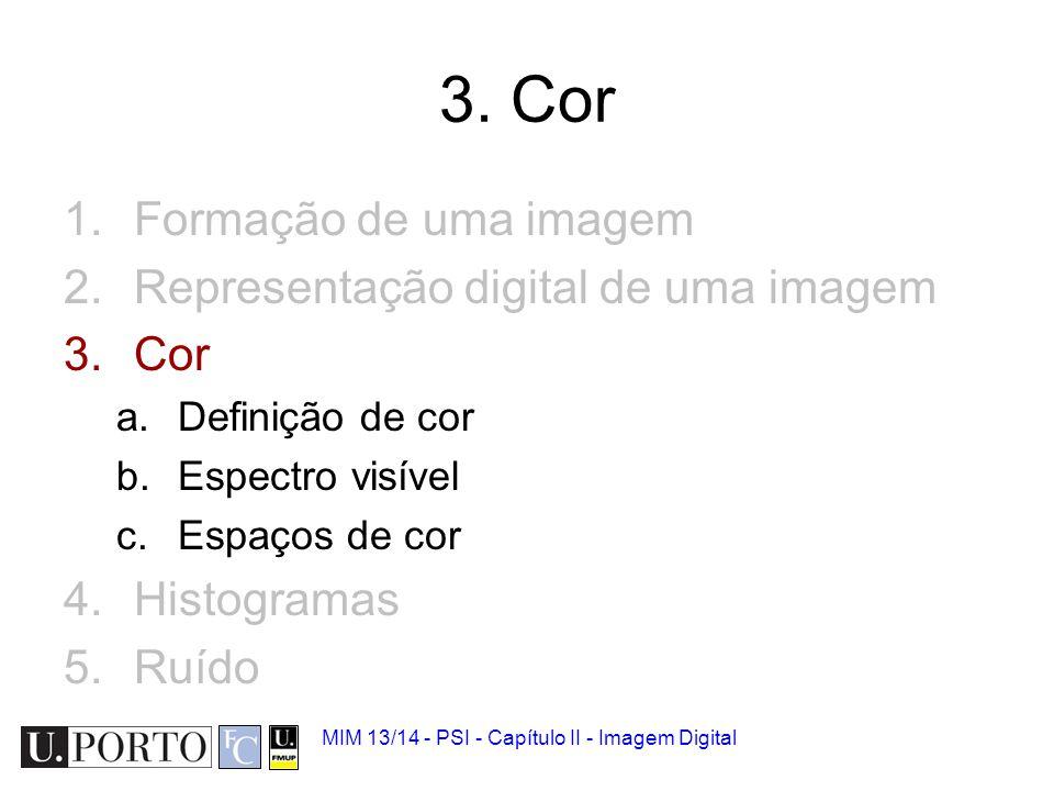 3. Cor Formação de uma imagem Representação digital de uma imagem Cor