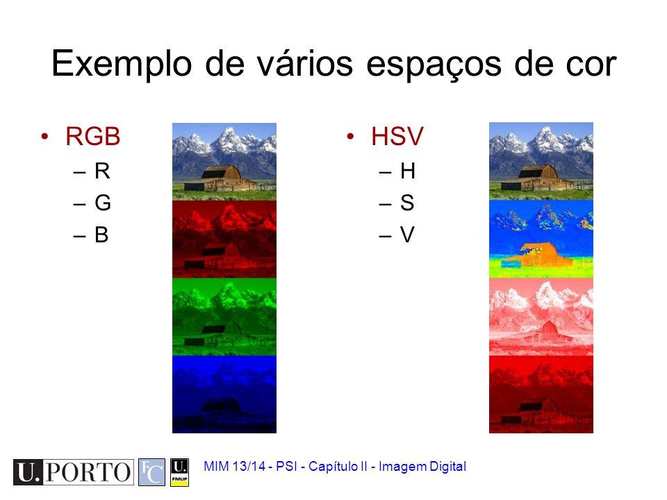 Exemplo de vários espaços de cor
