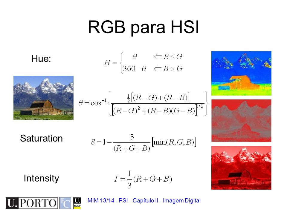 RGB para HSI Hue: Saturation Intensity