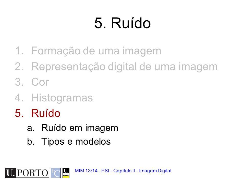5. Ruído Formação de uma imagem Representação digital de uma imagem