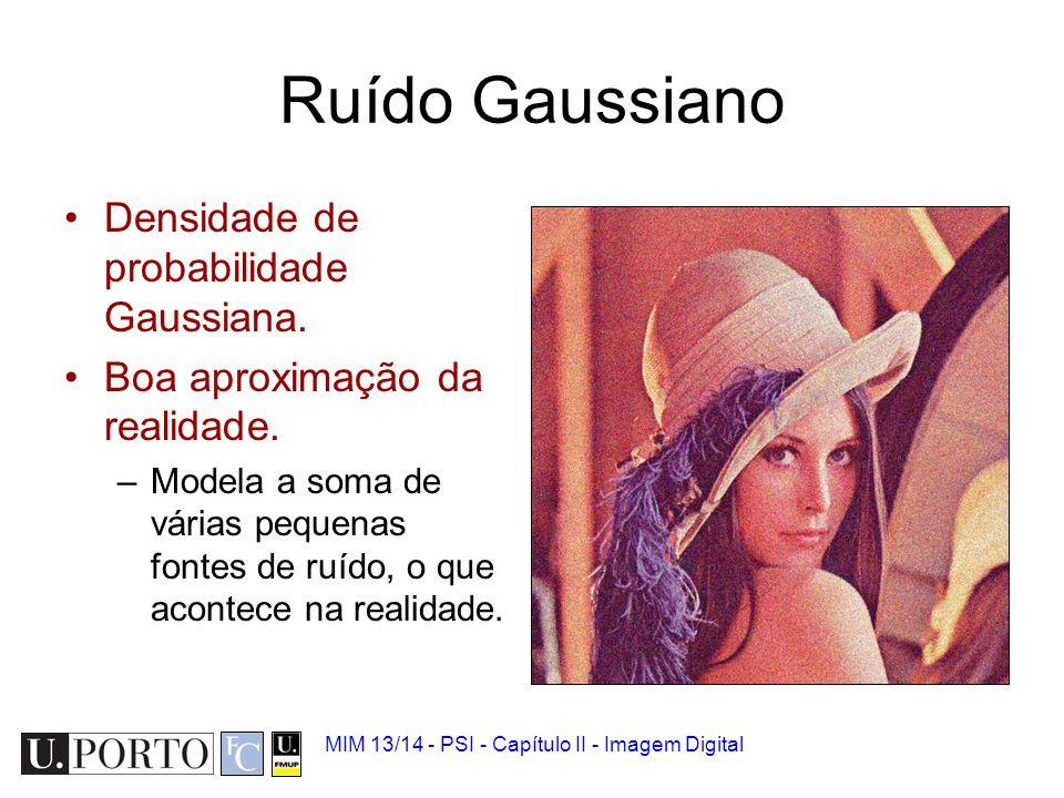 Ruído Gaussiano Densidade de probabilidade Gaussiana.