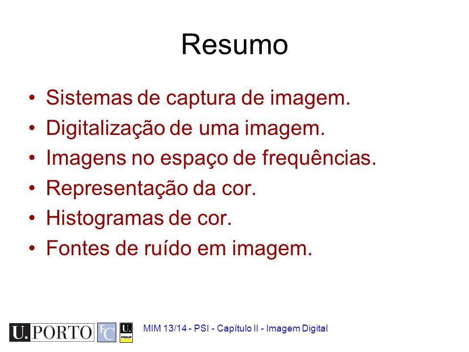 Resumo Sistemas de captura de imagem. Digitalização de uma imagem.