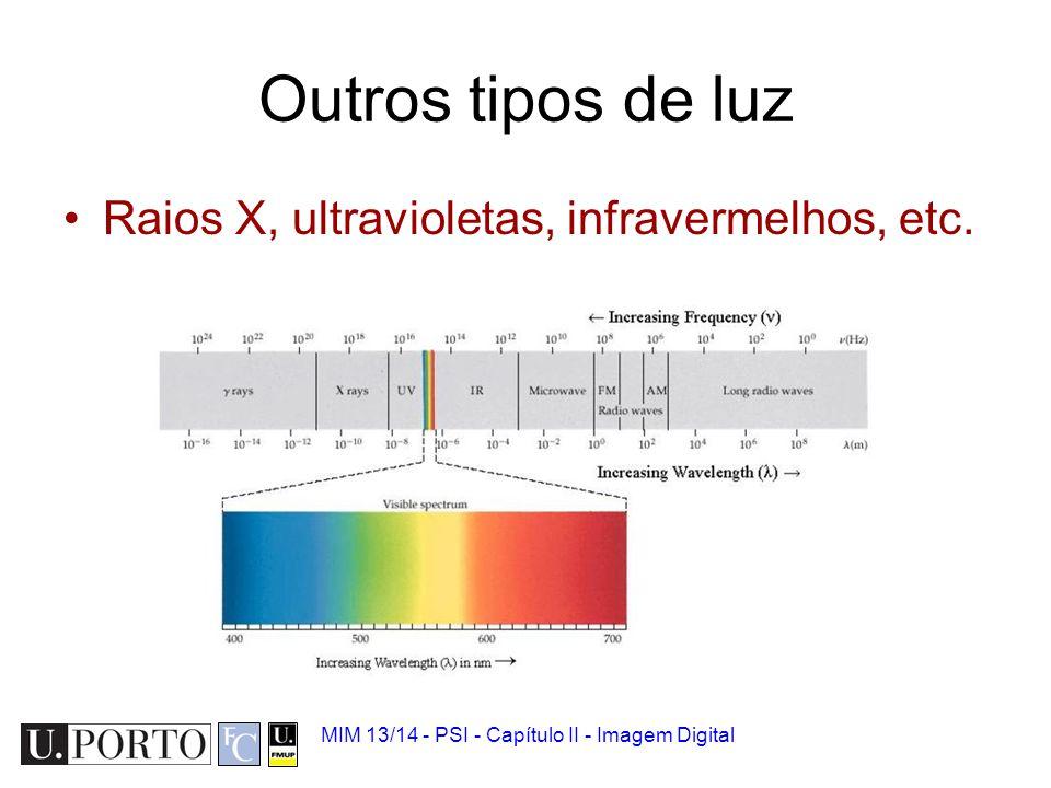 Outros tipos de luz Raios X, ultravioletas, infravermelhos, etc.