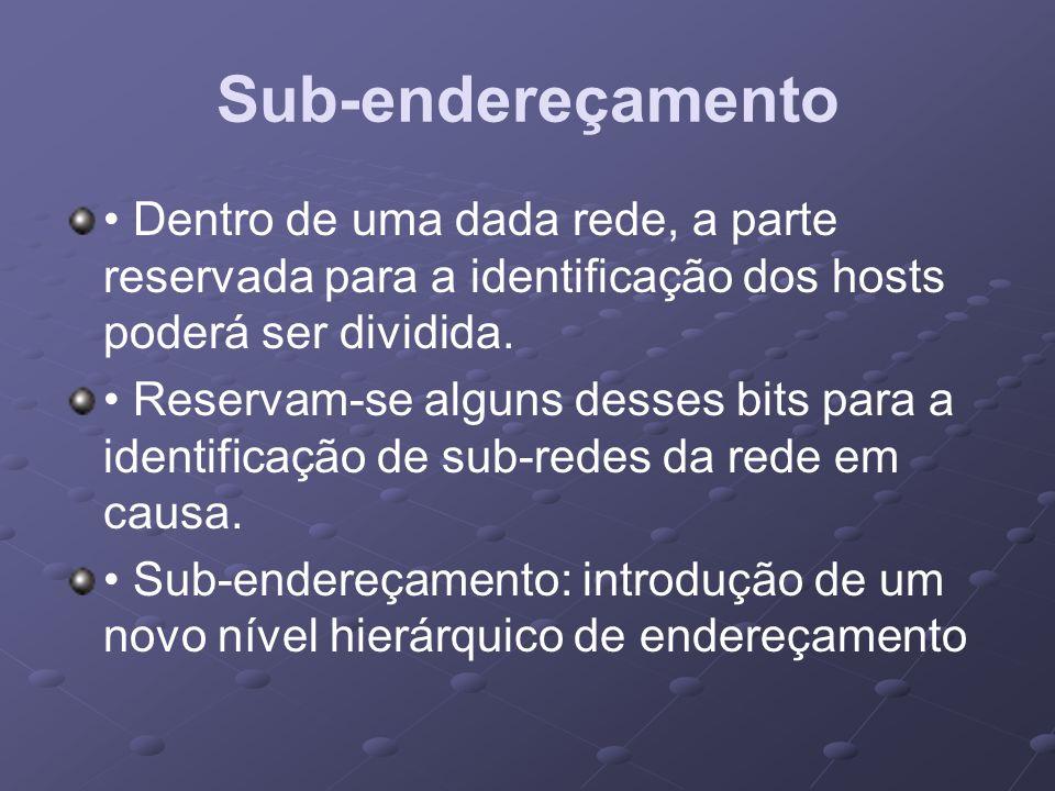 Sub-endereçamento • Dentro de uma dada rede, a parte reservada para a identificação dos hosts poderá ser dividida.