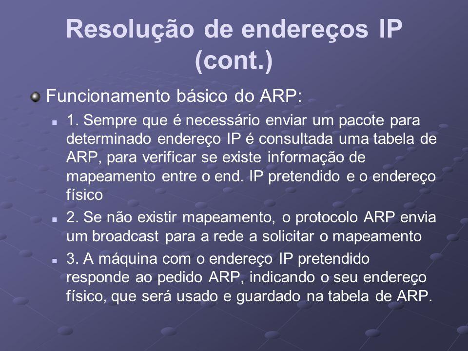 Resolução de endereços IP (cont.)